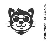 cat in glasses cartoon face... | Shutterstock . vector #1339535642