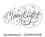 night sky  moon and stars.... | Shutterstock .eps vector #1339544258