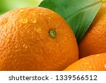 fresh orange with green leaf... | Shutterstock . vector #1339566512