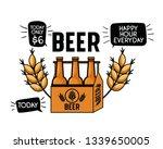 happy hour label with beer... | Shutterstock .eps vector #1339650005