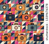 camera color pattern on  pastel ... | Shutterstock .eps vector #1339676378