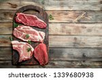 raw meat. beef and pork steaks... | Shutterstock . vector #1339680938