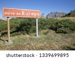 Small photo of Picos de Europe near Fuente De Cantabria Spain. May 2017. Brown information sign with words picos de Europa thereon. Concreted into grass verge. Mountain peaks in the background. Blue sky.