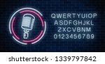neon signboard with microphone... | Shutterstock . vector #1339797842