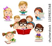 boys and girls are near books... | Shutterstock .eps vector #1339831568
