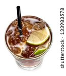 brown cocktail cuba libre  top... | Shutterstock . vector #133983578