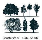 tree silhouettes   green oak ... | Shutterstock . vector #1339851482