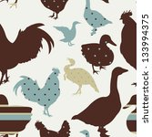 pattern with chicken  goose ... | Shutterstock .eps vector #133994375