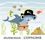 hammerhead shark cartoon with... | Shutterstock .eps vector #1339962848