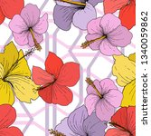 vector hibiscus floral tropical ...   Shutterstock .eps vector #1340059862
