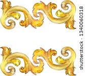 gold monogram floral ornament.... | Shutterstock . vector #1340060318