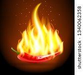 burning chili pepper. ... | Shutterstock .eps vector #1340062358