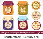colorful jam jars and labels...