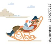 old successful cowboy resting...   Shutterstock .eps vector #1340077232