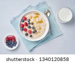 oatmeal with berries  chia ...   Shutterstock . vector #1340120858