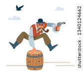 cowboy with a pipe and a bowler ...   Shutterstock .eps vector #1340124662