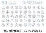 set of line icons of christmas... | Shutterstock . vector #1340140868