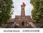 Tower Decorated With A Red Flag....