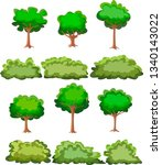 set of trees and bushes... | Shutterstock .eps vector #1340143022