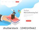 isometric flat vector landing... | Shutterstock .eps vector #1340145662