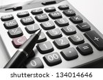 close up calculator with pen on ... | Shutterstock . vector #134014646