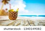 pineapple fruit on desk and... | Shutterstock . vector #1340149082