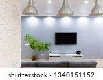 modern flat with tv. modern... | Shutterstock . vector #1340151152
