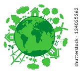 green ecology icons over planet | Shutterstock .eps vector #134025362