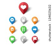 vector set of map pins for... | Shutterstock .eps vector #134025632