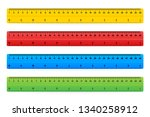 wooden rulers 30 centimeters... | Shutterstock .eps vector #1340258912