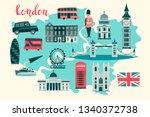 london illustrated map vector.... | Shutterstock . vector #1340372738