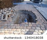 hole in the pavement  repair of ...   Shutterstock . vector #1340418038