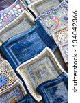 Ceramic plates from Tunisia - stock photo