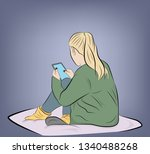 girl sitting with the phone.... | Shutterstock .eps vector #1340488268