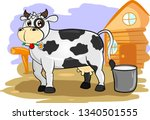 fair grey cartoon cow standing... | Shutterstock .eps vector #1340501555
