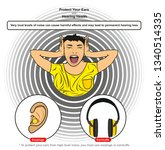 protect you ears and hearing... | Shutterstock . vector #1340514335