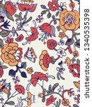 vector floral seamless pattern... | Shutterstock .eps vector #1340535398