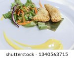 fried potato filled pastry with ... | Shutterstock . vector #1340563715