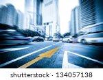 light trails on the street in... | Shutterstock . vector #134057138