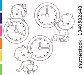 little baby with clocks. time... | Shutterstock .eps vector #1340582648