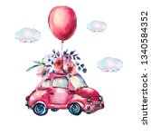 watercolor fantasy greeting... | Shutterstock . vector #1340584352