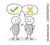 talking cartoon stickmen with... | Shutterstock .eps vector #1340586932