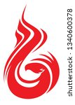 phoenix with folded wings... | Shutterstock .eps vector #1340600378