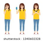 woman in jeans with phone... | Shutterstock .eps vector #1340602328