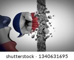 protest in france as an angry...   Shutterstock . vector #1340631695
