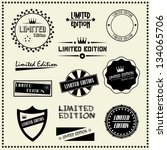 set of limited edition vintage... | Shutterstock .eps vector #134065706