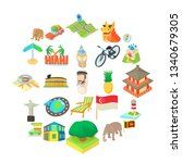holiday landmark icons set....   Shutterstock . vector #1340679305