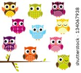 Stock vector vector illustration of patchwork owls 134067938