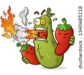 Spicy Pickle Cartoon With Hot...