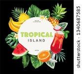 tropical hawaiian flyer with... | Shutterstock .eps vector #1340687585